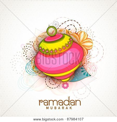 Beautiful colourful lantern on floral decorated background for Islamic holy month of prayers, Ramadan Mubarak celebrations.