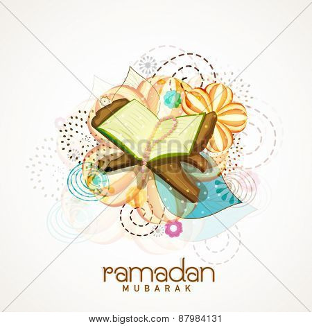 Islamic holy month of prayers, Ramadan Kareem celebrations concept with open islamic religious book Quran Shareef on colourful floral decorated background.