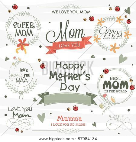 Stylish typographic collection, ribbons and frames on white background for Happy Mother's Day celebration.