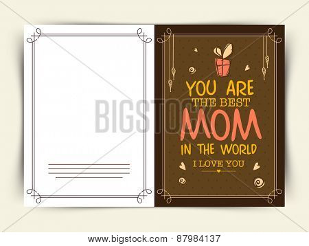 Beautiful greeting card design for Best Mom in the World on occasion of Happy Mother's Day celebration.