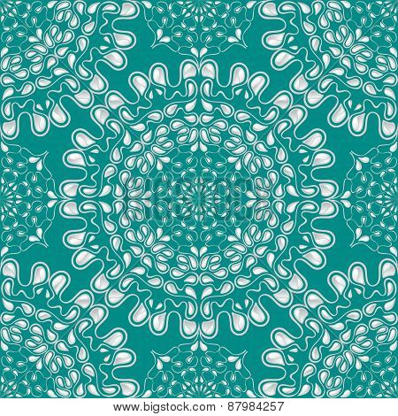 White water drops on turquoise background. Vector.