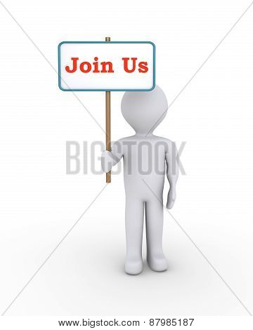 Person With Sign Offering Membership