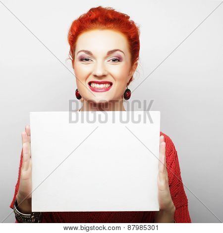 young casual woman happy holding blank sign, happy time
