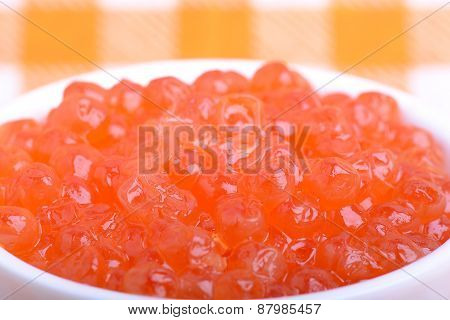 Red Caviar Close Up, Healthy Food Concept