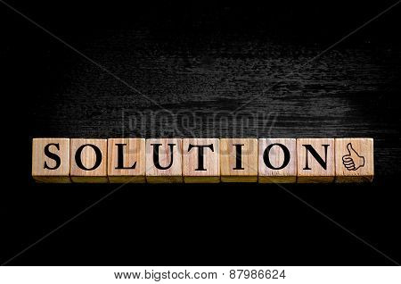 Word Solution Isolated On Black Background