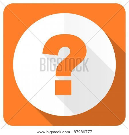 question mark orange flat icon ask sign