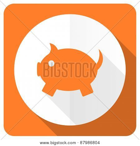 piggy bank orange flat icon