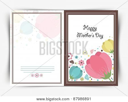 Beautiful floral design decorated greeting card design for Happy Mother's Day celebration.