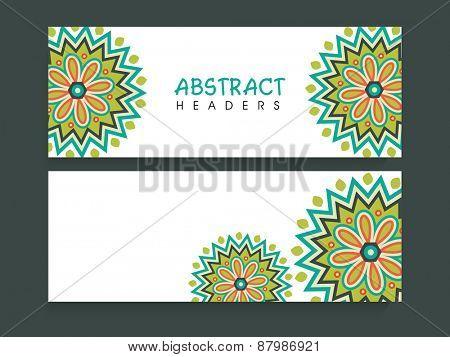 Traditional floral design decorated blank website header or banner set.