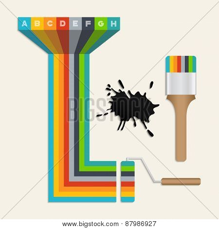 Colorful Paintbrush And Paint Roller Icons