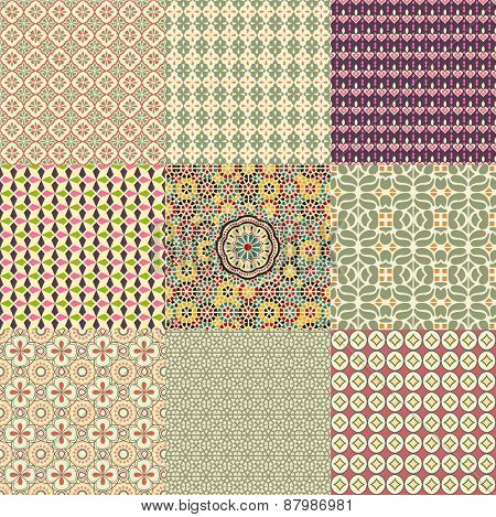 Set of nine stylish seamless floral patterns in different shapes.