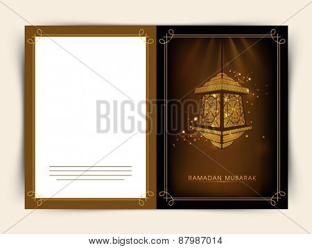 Beautiful greeting card design for Islamic holy month of prayers, Ramadan Kareem celebrations with hanging golden lanterns on shiny brown background.