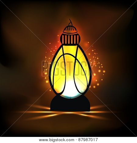 Illuminated traditional lantern in night background for islamic holy month of prayers, Ramadan Kareem concept.