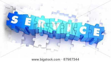 Service - White Word on Blue Puzzles.