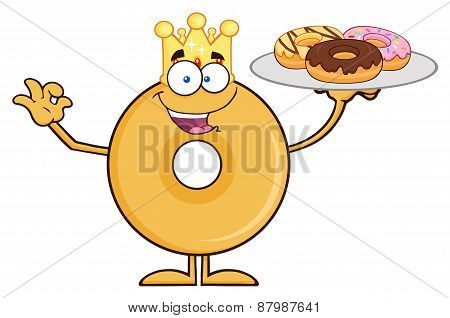 King Donut Cartoon Character Serving Donuts