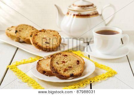 Cake With Raisins, Tea And A Cup Of Tea