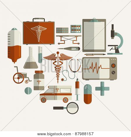 Health and Medical concept with different elements on white background.