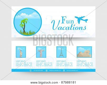 Vacations banner or website header set.