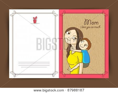 Cute little boy on his mom's back, Elegant greeting card design for Happy Mother's Day celebration.