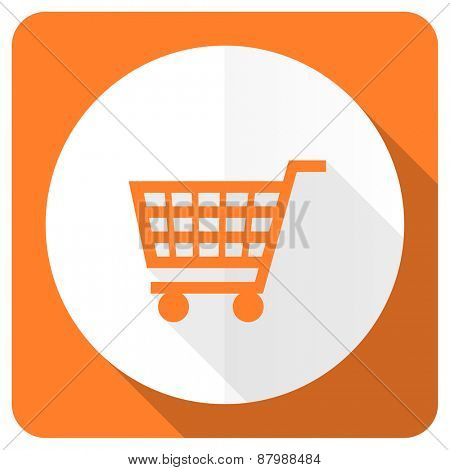 cart orange flat icon shop sign