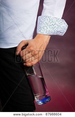 Alcohol Addiction Concept Man With Vodka Bottle