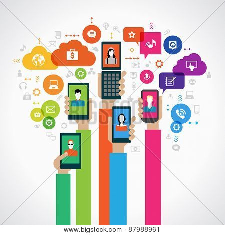 Concept mobile marketing. The hands of people with mobile phones surrounded by icons. File is saved in AI10 EPS version. This illustration contains a transparency