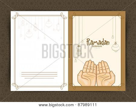 Hands praying Namaz (Muslim's Prayer), Elegant greeting card design for Islamic holy month of prayers, Ramadan Kareem celebrations.
