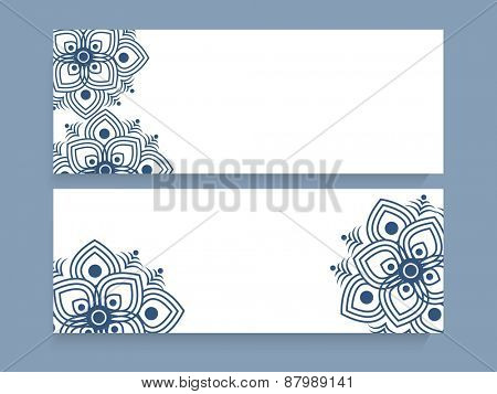 White website header or banner set decorated with beautiful floral pattern.