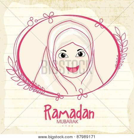 Cute little happy Islamic girl in a frame for holy month of Muslim community Ramadan Kareem celebration.