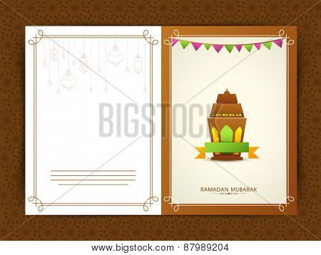 Intricate traditional arabic lantern for Islamic holy month of prayers, Ramadan Kareem celebrations greeting or invitations card designs.