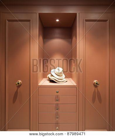Interior beautiful apartment, elegant wardrobe, front view