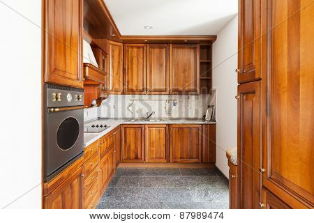 Architecture, classic apartment furnished, domestic kitchen