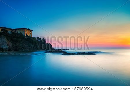 Castiglioncello Old Building On The Rocks And Sea On Sunset. Tuscany, Italy.