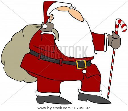 Santa With A Cane