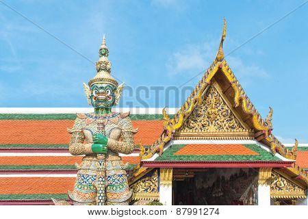Giant At Gate In Wat Phra Kaew, Bangkok, Thailand