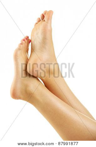 Beautiful female legs, isolated on white background