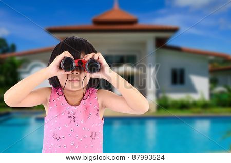 Girl With Binoculars In Front Of Dream House.