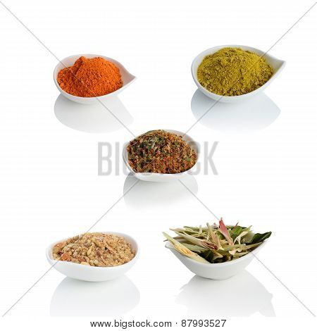 Lemongrass, Cashew Nut, Chilli Powder And Thai Herb On The Bowl Isolated On White Background.