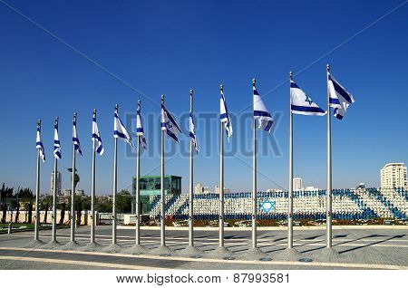 Israeli Flags In The Courtyard Of The Knesset