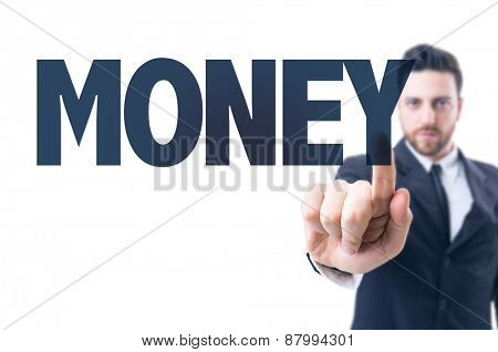 Business man pointing the text: Money