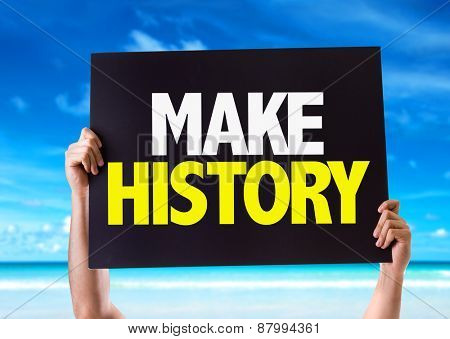 Make History card with beach background