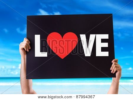 Love card with beach background