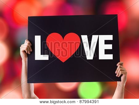 Love card with bokeh background