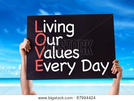 Living Our Values Every Day card with beach background