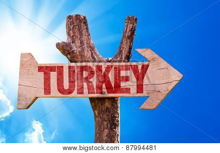 Turkey wooden sign with sky background