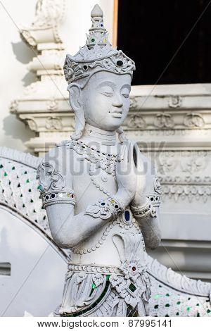 Thai White Angle Statue
