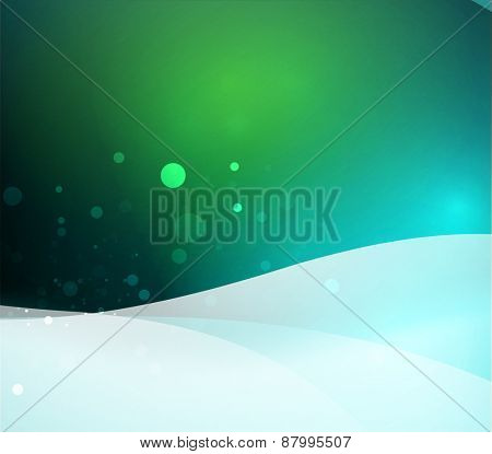 Color blue, green and light, waves and lines. Abstract background