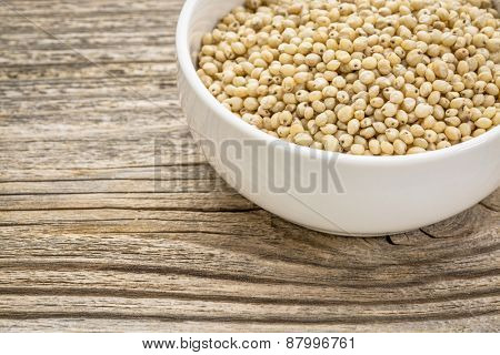 gluten free, white sorghum grain in a small ceramic bowl against grained wood