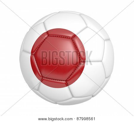 Soccer ball, or football, with the country flag of Japan