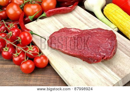 Fresh Raw Beef Fillet Loin Steak And Vegetables